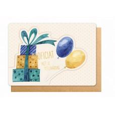 Wenskaart met cadeautje en ballonnen - Proficiat met je verjaardag